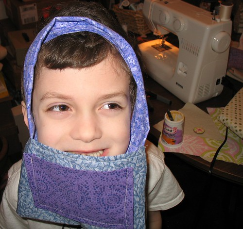 His first sewing project