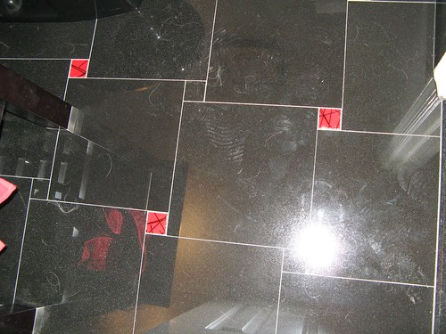 Red Glass Accent Floor Tiles
