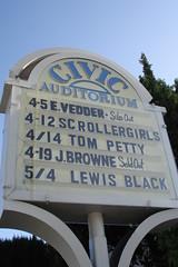 E. VEDDER Sold Out (maureenld) Tags: california santacruz sign marquee amazing downtown solo april eddie 2008 eddievedder civicauditorium