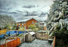 Backyards and clouds (Мaistora) Tags: leica bridge trees houses england sky white house snow color colour weather clouds contrast fence lens lumix grey reading exposure day zoom cloudy britain extreme shed snowstorm panasonic filter online april plugin unusual process noise berkshire effect postprocess rare hdr app picnik noisy edit oldcamera springtime saas prosumer 6mp ultrazoom tonemapped tonemapping hdrlike fz7 maistora colourlicious gardensbacklyards yahoo:yourpictures=weather