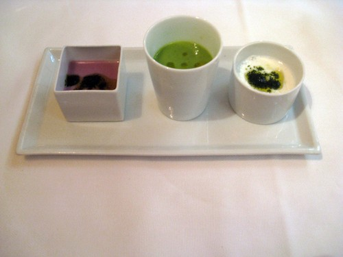 Joia, Milan, Cream of Zucchini, Puree of Onion, Yogurt and Horseradish