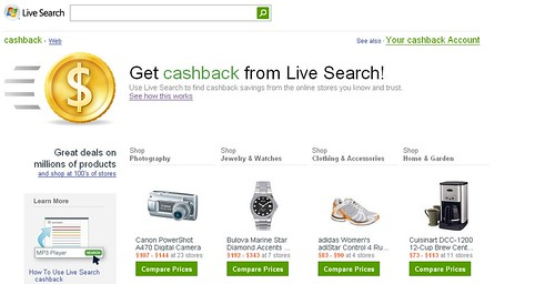Microsoft Live Search Cashback
