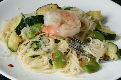 Shrimp, Fava Bean and Zucchini Pasta