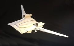 U-wing fighter origami: wings swinging back version (Matayado-titi) Tags: sugamata spaceship starship starwars space starfighter shusugamata uwing origami matayado fighter rogueone