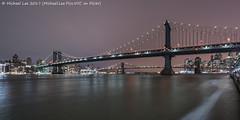 Two Bridges Again (20170210-DSC04340-Edit) (Michael.Lee.Pics.NYC) Tags: newyork twobridges eastriver southstreet esplanade manhattanbridge brooklynbridge dumbo night longexposure lighttrails composite cloudy sony a7rm2 voigtlanderheliar15mmf45 lowermanhattan fdrdrive