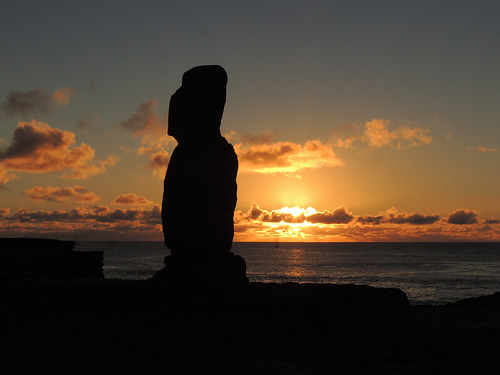 Sunset at Tahai on Easter Island