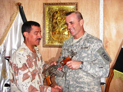 Drew gets a gift from a friend in the Iraqi army