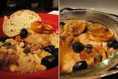 chicken, chorizo, and bean bake