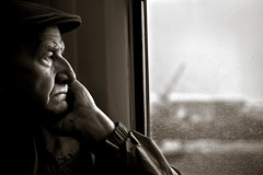 The Remains of the Day (TGKW) Tags: old portrait people blackandwhite man window rain train glasgow candid transport elderly age twtmeiconoftheday artlibre