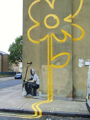 Wall flower in Bethnal Green, attributed to Banksy (Maybe_Its_Because) Tags: uk streetart london geotagged graffiti guesswherelondon doubleyellowlines bethnalgreen e2 towerhamlets gwl guessedbytrailerfullofpix pollardstreet