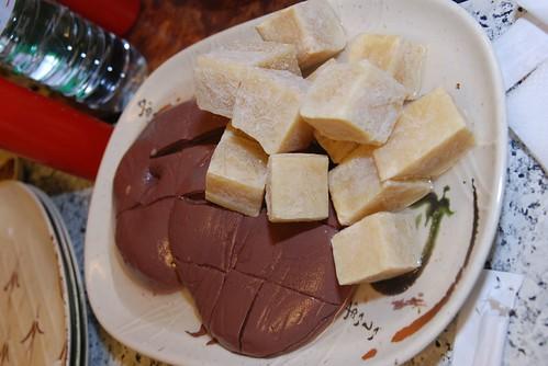 薑母鴨-鴨血,凍豆腐