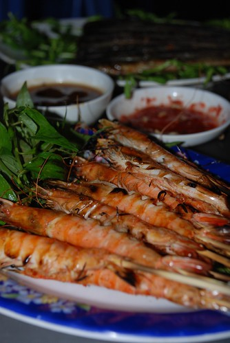 Grilled river shrimps