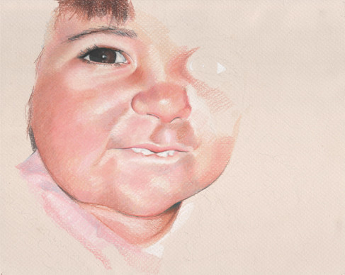 In progress scan of colored pencil drawing.