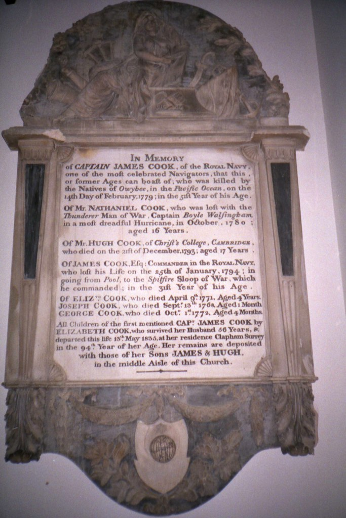 Cook memorial in the church of St Andrew the Great, Cambridge.