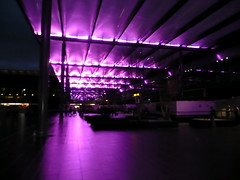 new lighting feature at entrance to London Heathrow Terminal 3 (Scorpions and Centaurs) Tags: lighting trip morning roof vacation holiday dark airport cool pretty moody purple heathrow earlymorning entrance cover shelter canopy terminal3 groovy feature lhr forecourt londonist catchycolorspurple lpairports