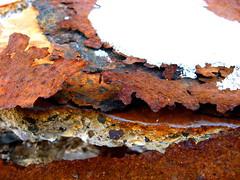 Rust & Concrete (The Joy Of The Mundane) Tags: snow macro broken closeup concrete rust peeling decay ruin rusty flake rusted rusting peel flaking