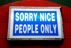 Sorry Nice People Only (geoftheref) Tags: new our newzealand christchurch cloud white color colour nova sign la interestingness interesting long flickr space vivid zeeland canterbury zealand nz land kiwi aotearoa nueva lyttelton nouvelle zelanda wunderbar neuseeland zelandia nuova nieuw zelndia  zlande canterburynz  ourspace geoftheref   ourspacenz nz101christchurchcity