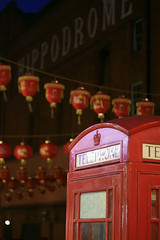 Red Telephone box (AKinsey Foto) Tags: china new uk london canon eos town year chinese hippodrome latterns 400d