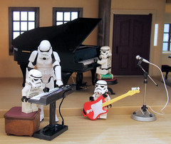 Music lessons. (waihey) Tags: windows music house keyboard lego guitar seat stormtroopers piano class microphone stool hasbro telephonebook sylvanians lunby