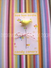 Candy Canary Pin Topper (Pinks & Needles (used to be Gigi & Big Red)) Tags: sculpture birds birdie sewing polymerclay clay etsy pintopper