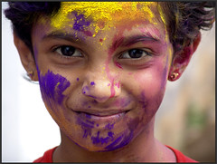 SHRUTI (Sukanto Debnath) Tags: portrait india colors girl smile face festival kid indian sony holi f828 shruti debnath hyserabad sukanto sukantodebnath