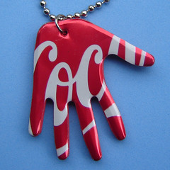Pop Art Aluminum Can Hand Necklace- (Urban Woodswalker) Tags: red metal advertising logo necklace shiny hand graphic cola recycled handmade unique jewelry popart soda cocacola recycle milagro sodapop repurposed hamsa fantabulous tacomaartmuseum trashion aluminumcanart trashbit urbanwoodswalker