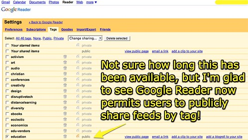 Sharing Google Reader Feeds by Tag
