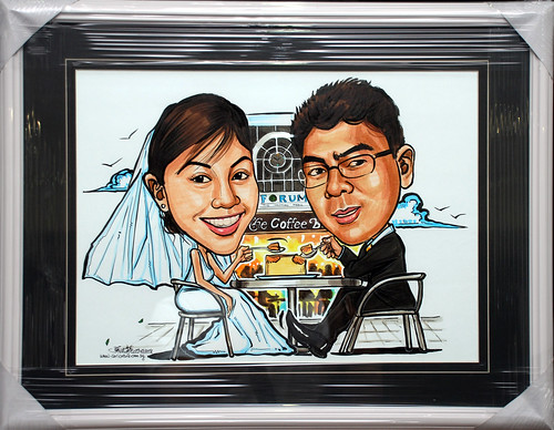Wedding caricatures @ Forum Coffee Bean framed up