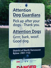 A Sign for Dogs and it's owner  :-) (jelee_unleashed) Tags: dog signs dogs funny deepcove northvancouver wtf attentiondogs attentiondogowners dogswhocanread