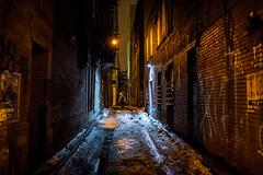 Dark Alley #2 [Explored] (_Franck Michel_) Tags: street dark night snow city cold streetlight