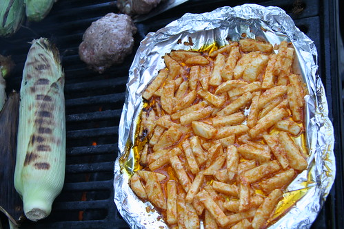 turnip fries on the grill