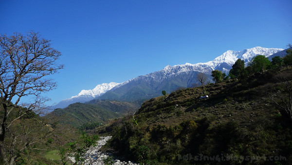 Kangra Rail Snow Mountain and Stream