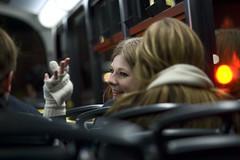 Night bus II (Jane Hoskyn) Tags: street travel friends portrait woman bus london girl night dark lowlight candid transport streetphotography bodylanguage gloves glove redlight highiso londontransport candidportrait nightbus 105mmf28 n11 myeyesfeellikethatlight myeyesprobablylooklikethatlighttoobutichoosenottoknow