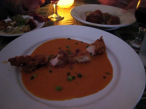"""Fried Rabbit Tenderloin over Tomato Basil """"Coulee"""""""
