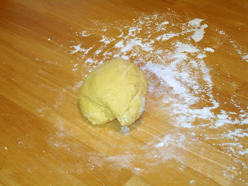Kneading the dough, early stages