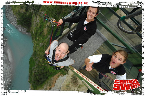 Posing for the Shotover Canyon Swing camera