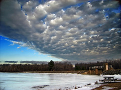 Flap (Nicholas_T) Tags: winter sky lake snow ice clouds rural frozen lowlight pennsylvania creativecommons poconos altocumulus monroecounty tobyhannastatepark tobyhannalake