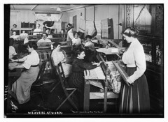 Weavers at work  (LOC) (The Library of Congress) Tags: bw usa ny newyork history industry shop work for trabajo workers women blind employment crafts labor rad pipe shed warp player southern textile shuttle disabled production libraryofcongress textiles byron rugs weavers mujeres weaving loom association blindness 5x7 disability shawls textil weft industrialization ciegos welte orchestrion tejedoras hairbow iwd georgegranthambaincollection tecelagem 19101915 xmlns:dc=httppurlorgdcelements11 dc:identifier=httphdllocgovlocpnpggbain09146 unitedstatessouth floorrugs thenyassociationfortheblind nyassociationfortheblind gibsongirlhairstyle organsweat industriatextil byroncompany byronphotographernewyork