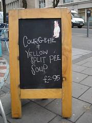 Tempting, eh? (melita_dennett) Tags: food pee sign topv2222 sussex weird cafe brighton urine madhatter yuk nothanks