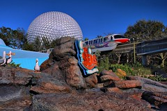 Disney - Seas Monorail Spaseship Earth (Express Monorail) Tags: sign orlando epcot mine florida disney disneyworld monorail wdw waltdisneyworld polarizer walt spaceshipearth futureworld monorailred theseaswithnemoandfriends