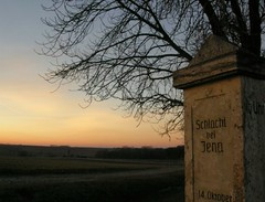 Memorial to the Battle of Jena in 1806 (Linda6769) Tags: sunset friedhof tree germany landscape memorial village time battle thuringia number ten warmemorial grabstein landschaft baum baretree denkmal kriegsdenkmal kriegerdenkmal zahl october14 oclock rdigen geschrieben geschriebenes christlicherfriedhof nackterbaum