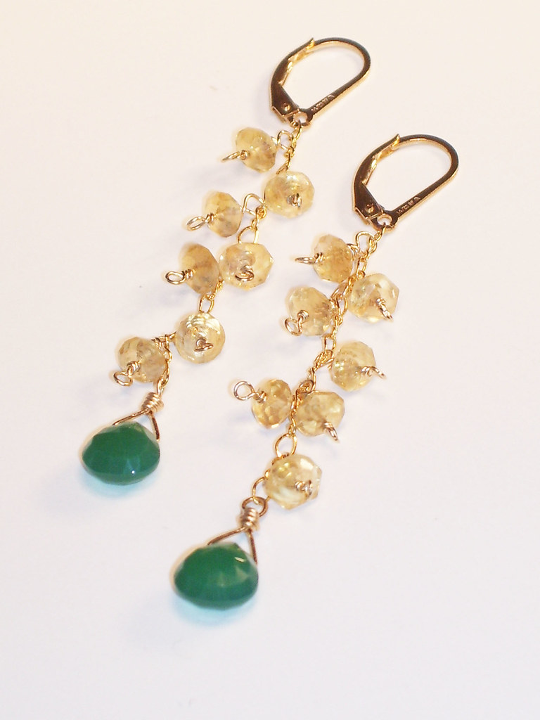 Emeral Quartz and Citrine Dangle Earrings