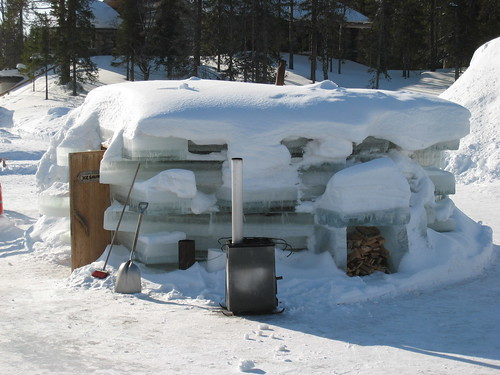 A sauna made of ice