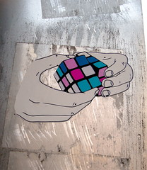 Rubik's Cube (liquidnight) Tags: seattle stickers streetart ephemeralart hands rubiks cube