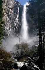 Bridalveil Falls, Spring Flow Yosemite, California (moonjazz) Tags: cliff mist nature wonder waterfall nationalpark spring big agua force treasure landmark tourist spray tall wilderness awe bridalveil inspire yoesemite mighty refreshing 5photosaday califorania mywinners infinestyle