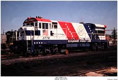 SCL U36B 1776 (Robert W. Thomson) Tags: railroad blue atlanta red usa white america train georgia diesel railway trains 200 locomotive uboat trainengine ge bicentennial 1976 1776 scl seaboardcoastline 200th u36b fouraxle