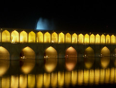 33 Pol (Saeed Aman) Tags: bridge light distortion reflection yellow architecture night river pattern glow arch iran iranian sequence esfahan islamic rythm 33pol