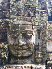 Khmer Smile (Back to Nothing) Tags: trip travel vacation canon temple holidays asia cambodia tour unescoworldheritagesite siemreap angkor backpacker bayon angkorthom  g9 jayavarmanvii khmersmile facetower earthasia