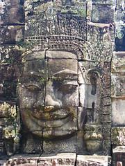Khmer Smile (Back to Nothing) Tags: trip travel vacation canon temple holidays asia cambodia tour unescoworldheritagesite siemreap angkor backpacker bayon angkorthom 柬埔寨 g9 jayavarmanvii khmersmile facetower earthasia