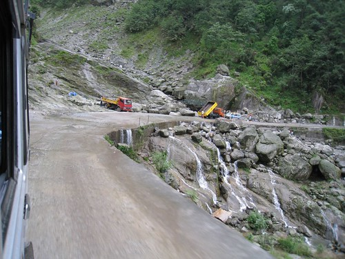 Water from streams and falls often ran over the roads